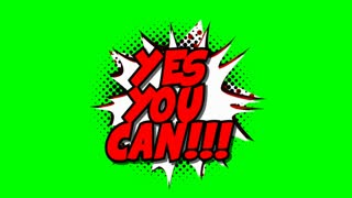 Yes you can - word in speech balloon in comic style animation, 4K retro cartoon comics animation on green screen