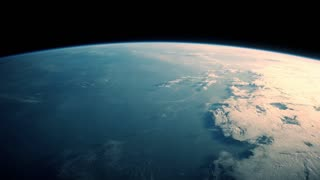 View on Earth, Atmosphere and Aurora from space 4K