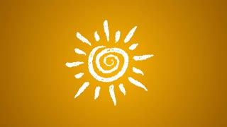 weather icon sun painted with chalk, hand drawn animation 4K