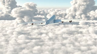 A passenger plane flying above the clouds
