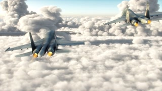 Attack aircrafts flying above the clouds