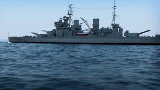 battleship in the ocean