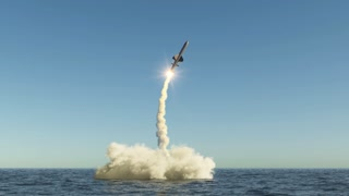 cruise missile flies up from the water