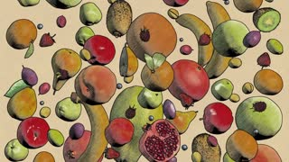 fruits fall drawing looped animation