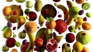 fruits fall on white animation looped