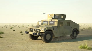 Humvee rides on desert
