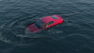 red car falls and drowning in water