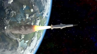 rocket flies into space