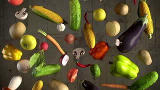Vegetables fall animation looped
