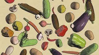 Vegetables fall drawing looped animation