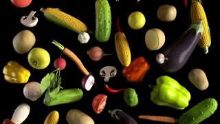 Vegetables fall on black animation looped