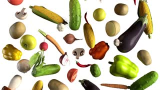 Vegetables fall on white animation looped