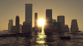 flooded city on sunset