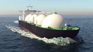 LNG tanker floating in the ocean
