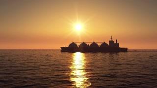 LNG tanker on sunset