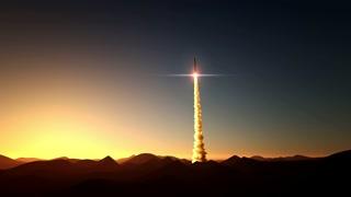 rocket start on sunset