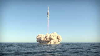 rocket takes off to space from water surface