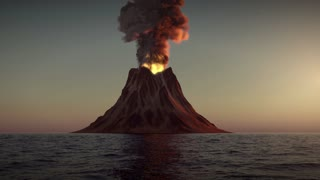 Volcano eruption in the ocean on sunset