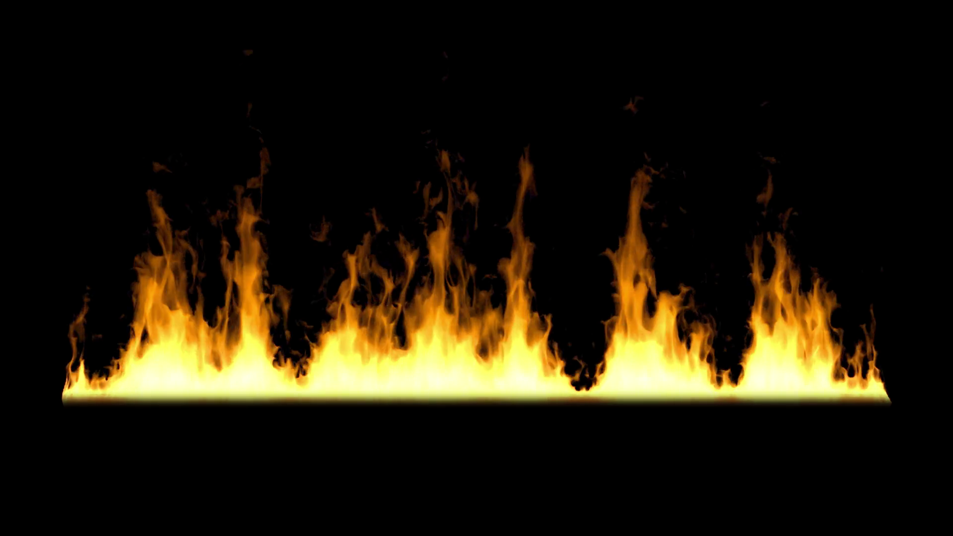 Wall of fire on black background loop animation Motion ...