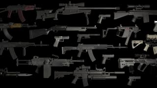 weapons rifles machine guns pistols on black animation loop
