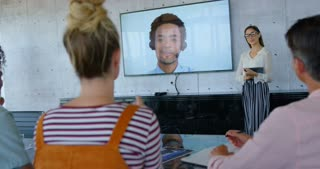 Front view of young Caucasian female executives giving presentation during video conference 4k