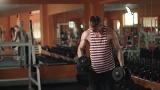 Athletic Man Working At The Gym. Exercises With The Gym Equipment