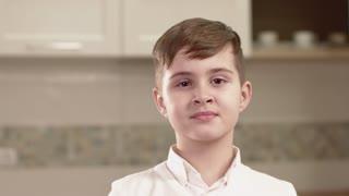 Closeup Portrait Of Little Boy Emotions. Human emotion.