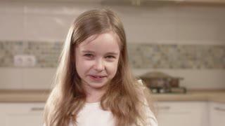 Closeup Portrait Of Little Girl Emotions. Human emotion.