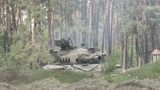 Military Tank Prepare To Battle And Shoots On The Target