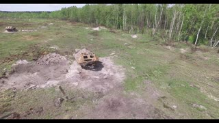 Missile Hits The Target RPG SlowMotion, Aerial View