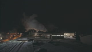 Smoke Rising From The Factory Pipelines, Night Time