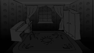 Dark room with furniture and rain and thunder outside the window looped animation.