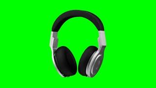 black leather headphones isolated on green background 3d illustration render