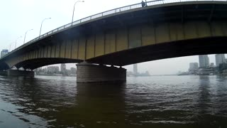 Cairo Egypt view from boat under the bridge