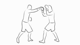 kickboxing fighters fighting ink cartoon animation