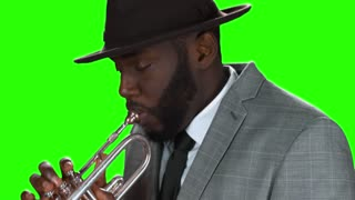 Afro-american trumpet player. Trumpeter on chromakey background.