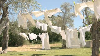 Clothes hanging on rope. Grass, trees and blue sky. Best washing powder.