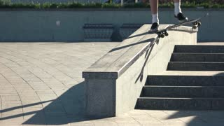 Feet of guy on skateboard. Skateboarder fails a trick. Not enough speed. Lose the balance.