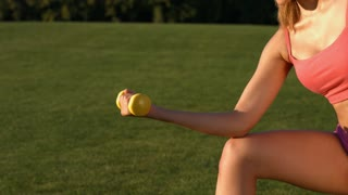 Girl engaged in sports on a green lawn. Girl shakes her biceps. Sportswoman exercising with dumbbells. Girl shakes her muscles.