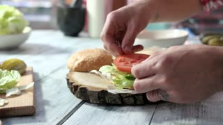 Hands making sandwich with vegetables. Tomato, sliced pickle and onion. Vegetarian burger ideas.