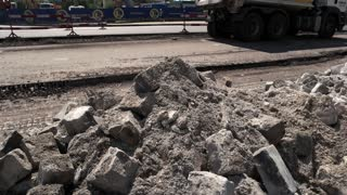 Kiev, Ukraine - 27. 07. 2016. Pieces of broken concrete. Destroy old to build new. Durable material for roads.
