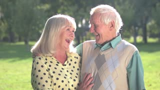 Laughter of senior couple. Man and woman outdoor. Good sense of humour. Mood shapes health.