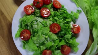 organic vegetable salad dish with tomatoes