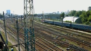 Railway junction. Transit train. Movement of train.