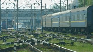 Railway line. Railway junction. Wagons move along the rails.