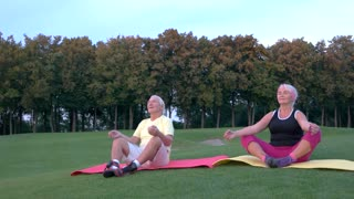 Senior couple doing yoga. People sitting outdoors. Body and mind. In harmony with nature.