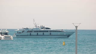 Side view of yacht. Boats and horizon. Sea adventures are waiting.