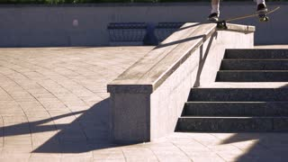 Skateboarder grinding in slow motion. Person on skateboard. Successful execution of a trick. Control every move.