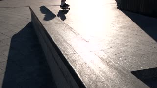 Skater fails a trick. Feet in slip-ons. Have no fear of failures. Skills come with time.
