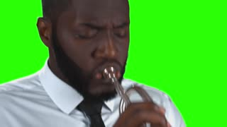 Trumpeter on green background. Afro-american musician. Best jazz hits.